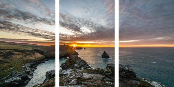 Boscastle triptych sunset canvas