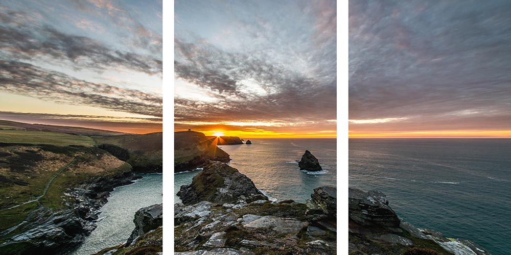 Boscastle triptych sunset canvas