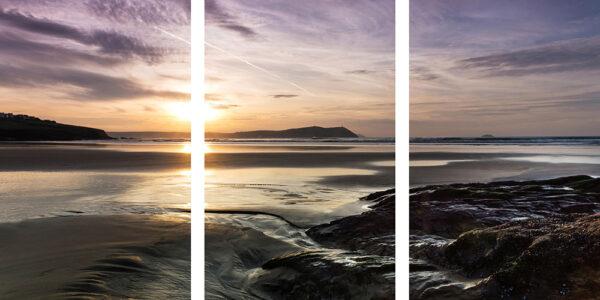 polzeath sunset triptych